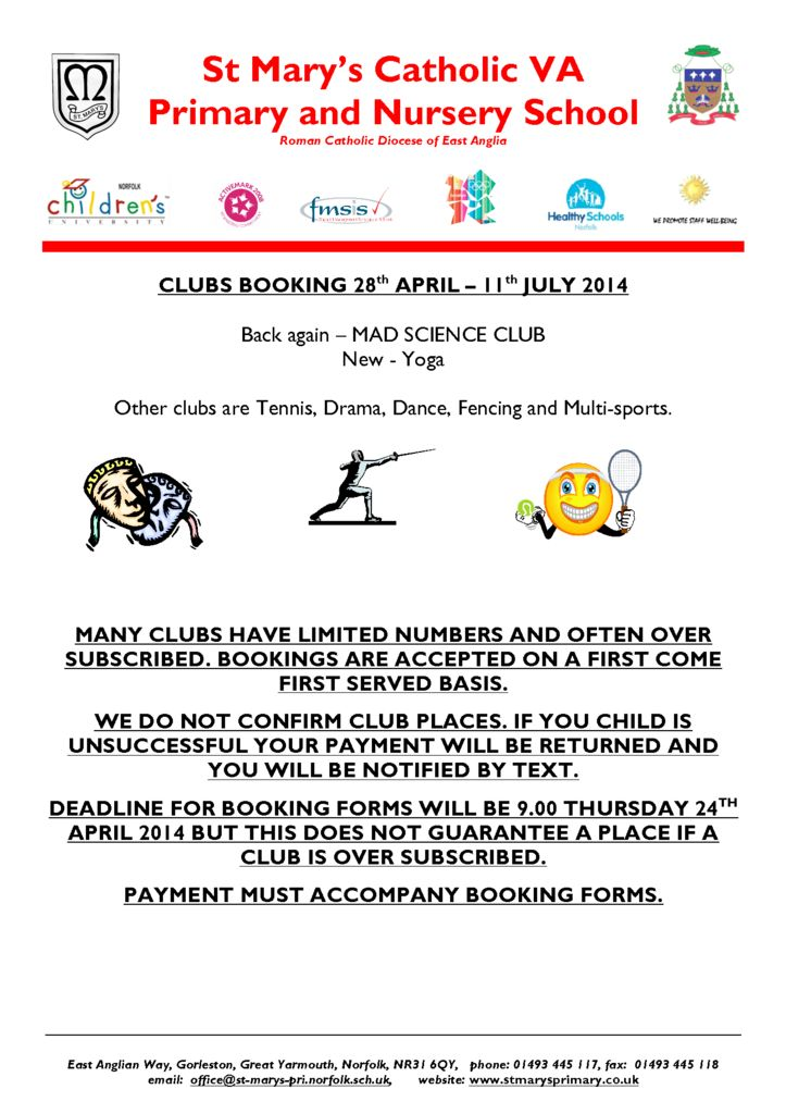 Cover Letter for Clubs – St Mary and St Peter Catholic ...